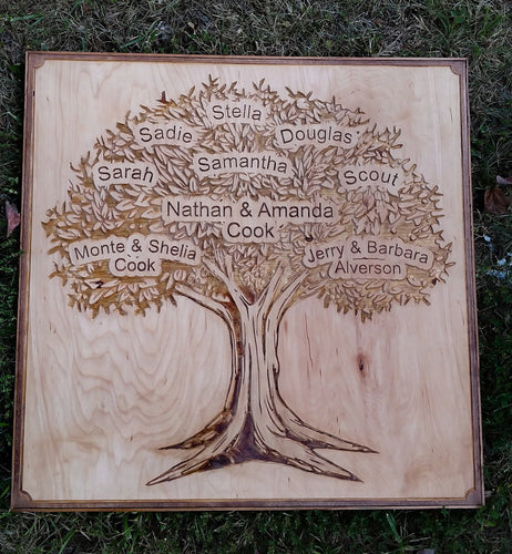 Custom Wooden Carved Family Tree