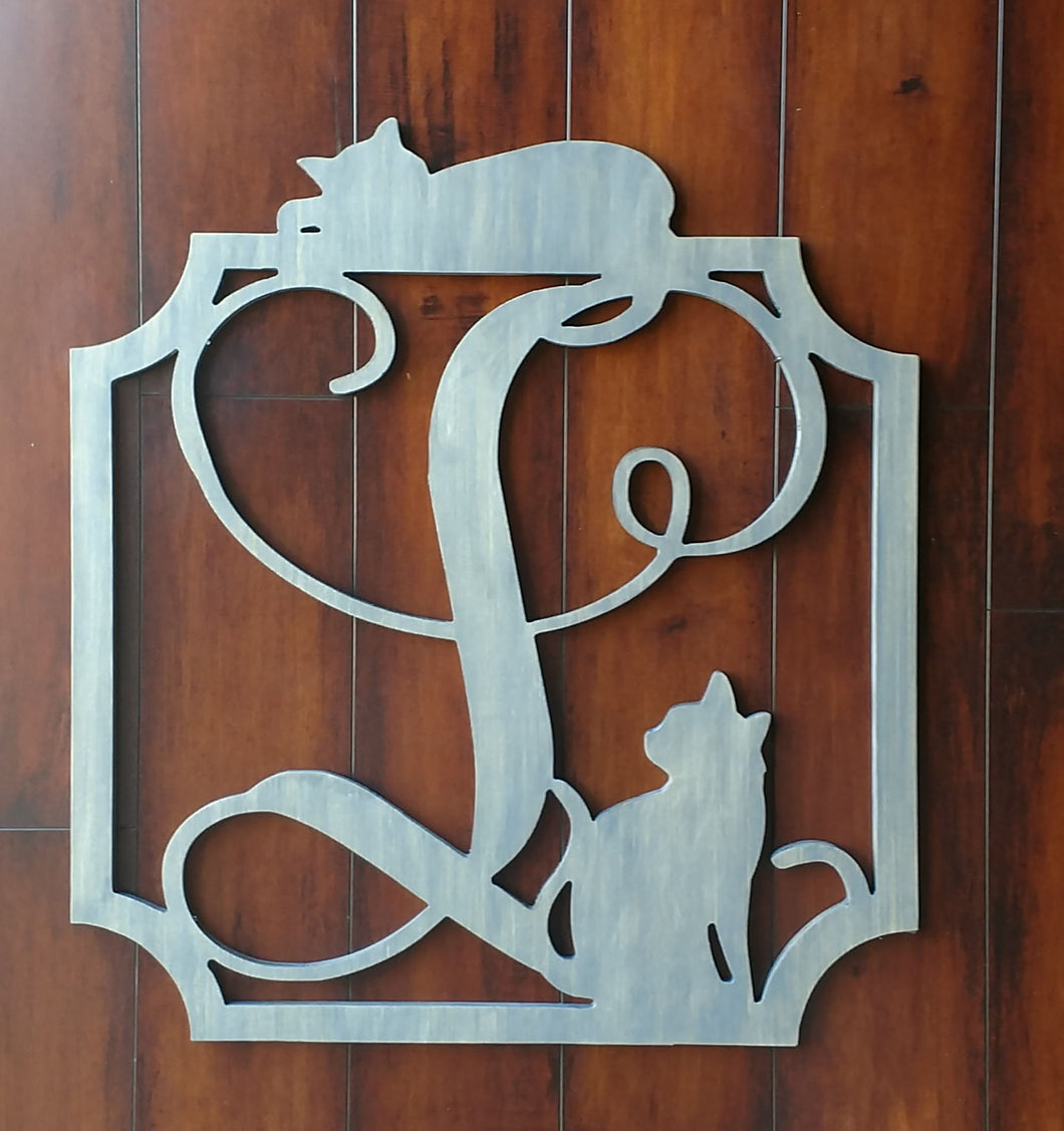 Monogram Signs for Front Door Decor for Cat Lovers