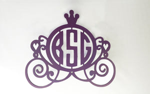 Princess Carriage Monogram for Girl's Room - Wall or Door Decor