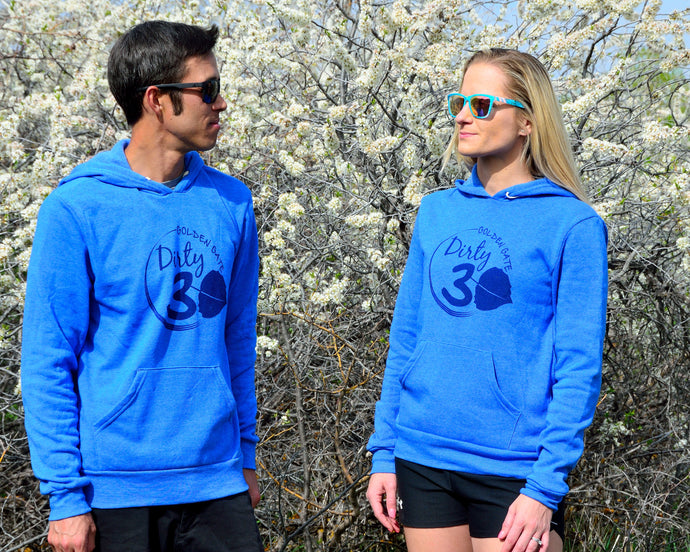 Dirty 30 Pullover Hoodie Sweatshirt with Elevation Profile on Back