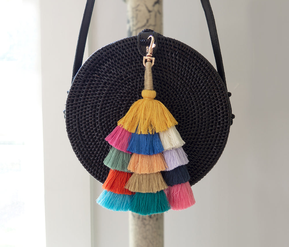 tassels bag charm made of cotton