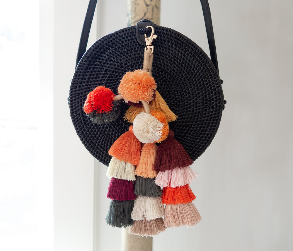 fall color pom pom bag charm made of cotton