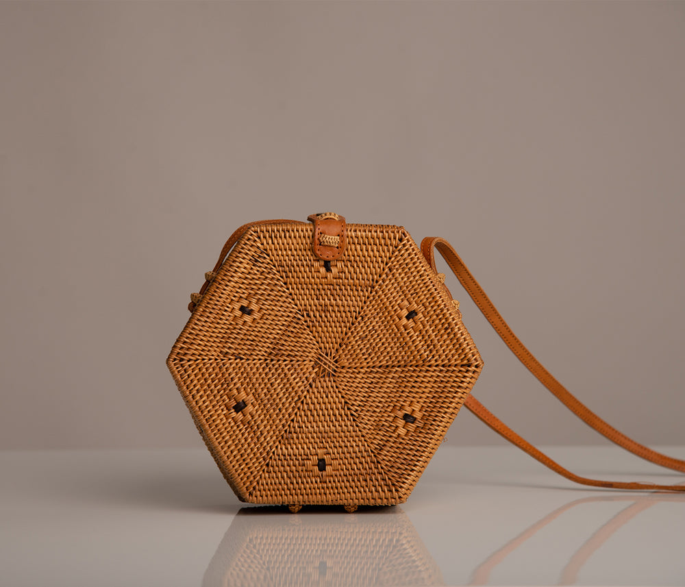 Hexagon Rattan Bag