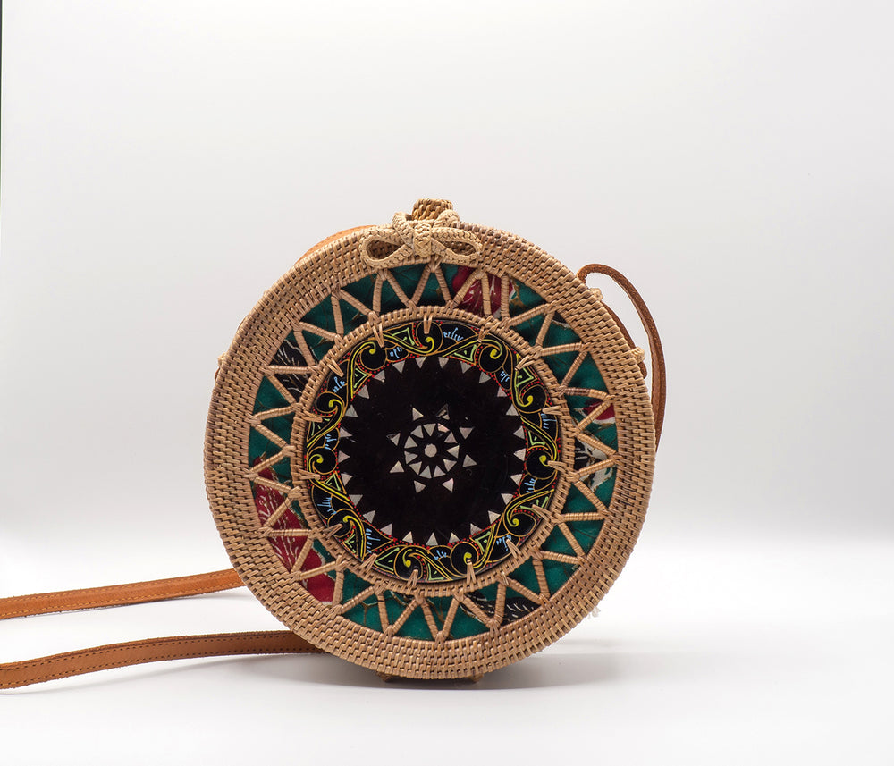 Hand Painted Shell Rattan Bag