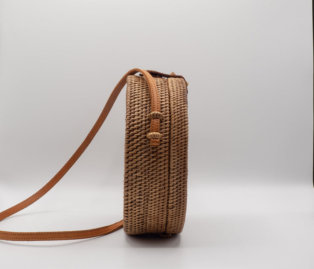 Mother of Pearl Rattan Bag