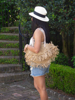 Fringe Straw Shoulder Bag Natural