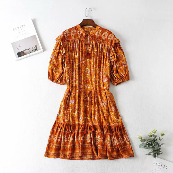 Vintage Chic Half Sleeve Tassel Drawstring Floral Short Dress