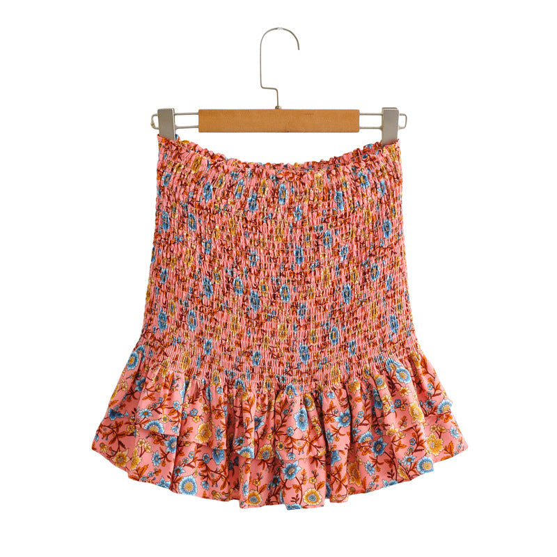 Pleated Floral Mini Skirt