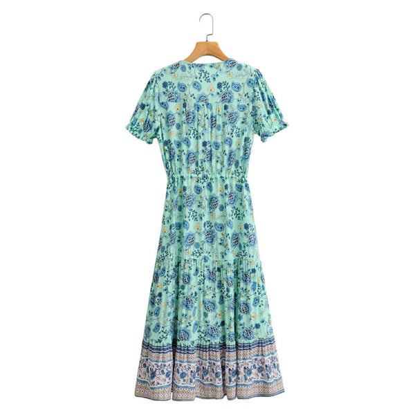 Elegant A-Line Button V Neck Floral Dress