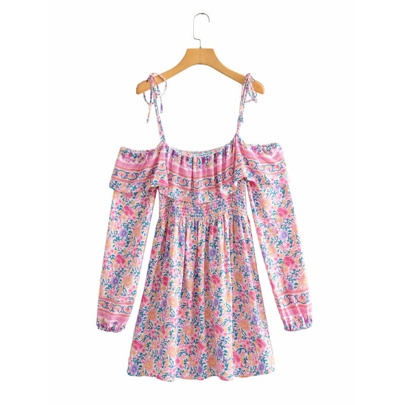 Off Shoulder A-Line Floral Dress