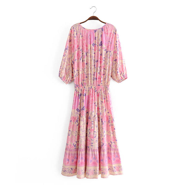 Tassel Half Sleeve High Waist Floral Dress - Pink