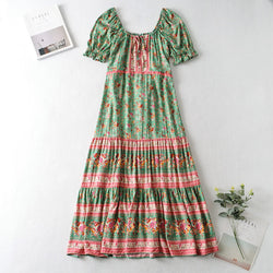 Puff Short Sleeve Square Neck Floral Long Dress