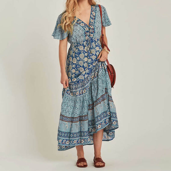 Chic Boho Floral Adjust Waist Beach Long Dress - Shes Lady