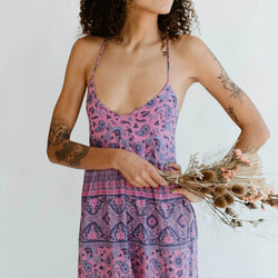 Strappy Boho Floral Tie Back Slip Dress - Shes Lady