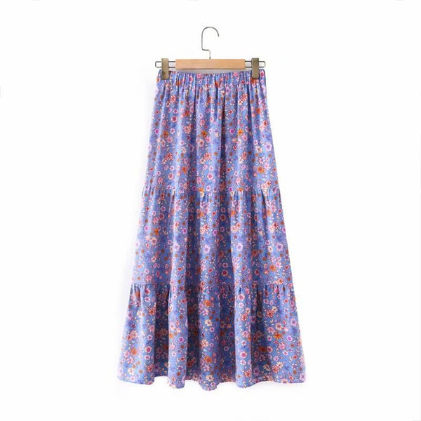 Tie Waist Floral Skirt - Purple