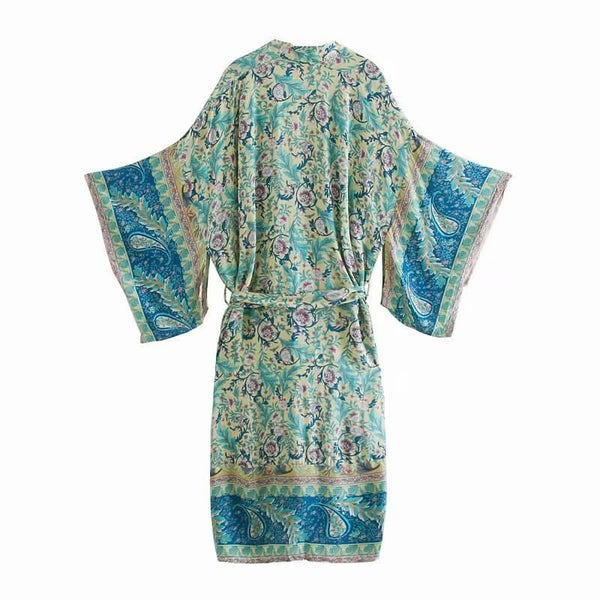 Beach Kimono Cardigan Floral Blouse Cover Up - Shes Lady