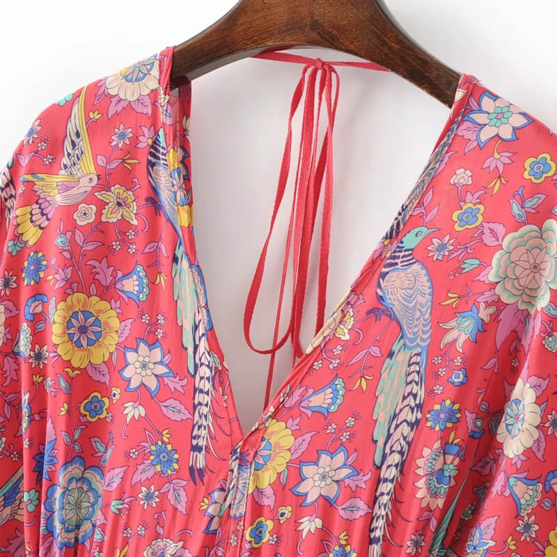 Double V Neck Tassel Tie-Up Boho Floral Dress