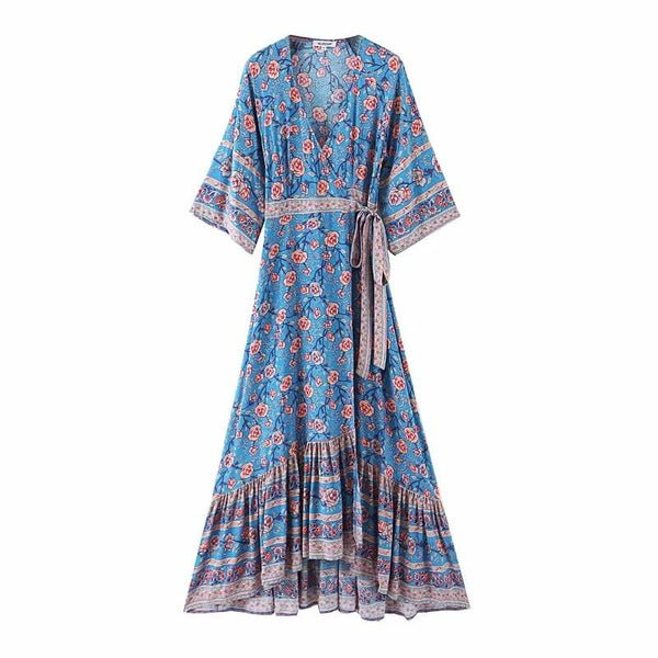 Elegant Boho Style Split Wrap Dress with Belt - Shes Lady