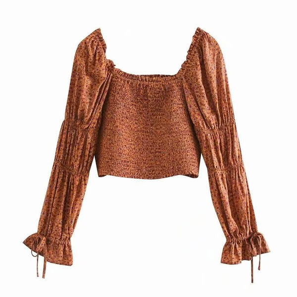 Vintage Square Neck Long Frilled Sleeve Top