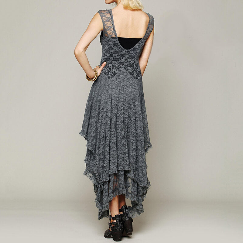 Boho Chic Hippie Style Asymmetrical Sheer Lace Dresses No Lining - Shes Lady