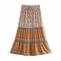 High Waist Floral Long Skirt - Beige