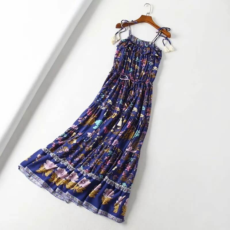 Ruffles Tassel Elegant Floral Strappy Long Dress - Shes Lady