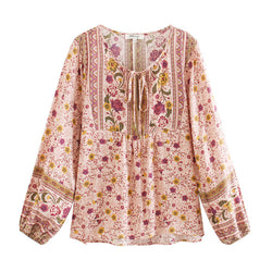 Elegant Floral Print Long Sleeve Blouse Top - Shes Lady