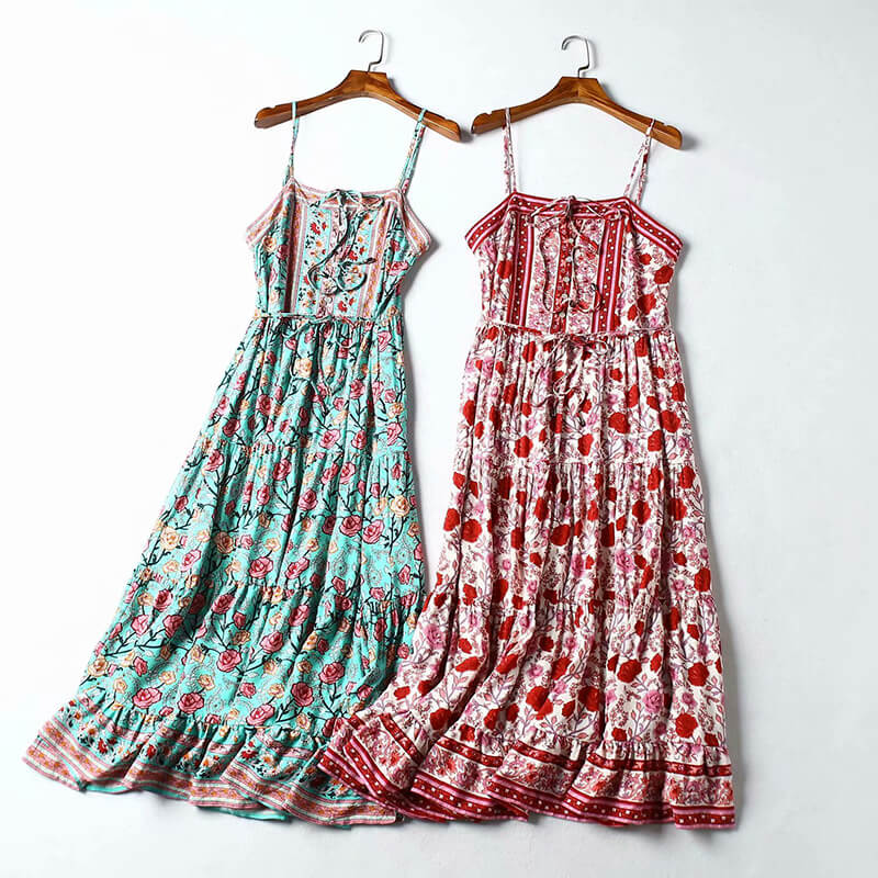 Hippie Floral Print Spaghetti Strap Long Dress - Shes Lady