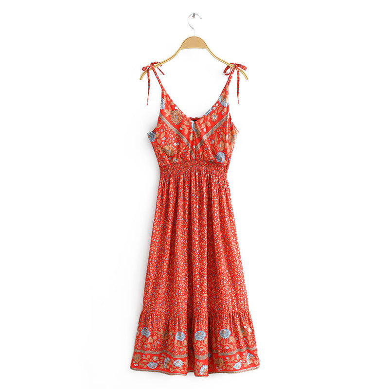 Boho Style Ruffles Strap Floral Dress - Shes Lady