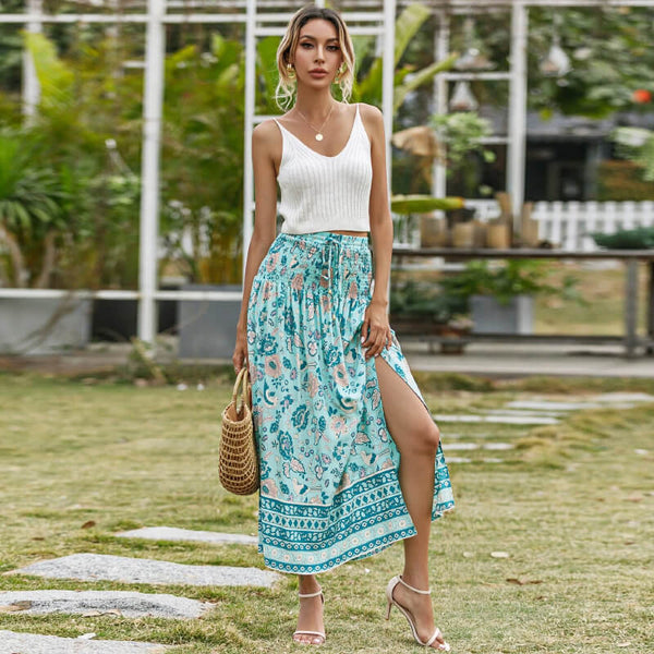 Elastic Drawstring Waist Floral Long Skirt - Green