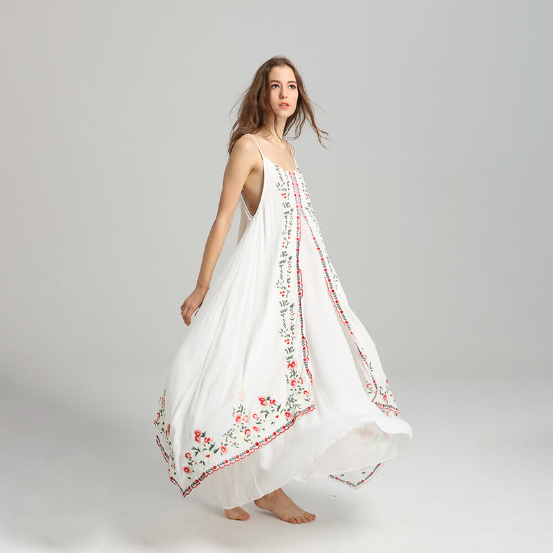 Elegant Floral Embroidery Flowing Long Dress - Shes Lady