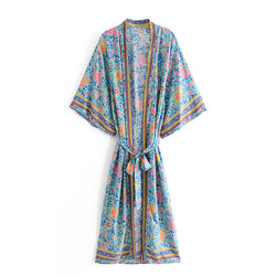 Floral Batwing Sleeve Bohemian Kimono Robe with Sashes