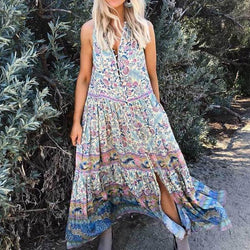 Sexy Sleeveless Floral Print Midi Dress - Shes Lady