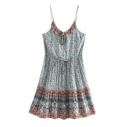Summer Spaghetti Strap Boho Floral Mini Dress - Shes Lady