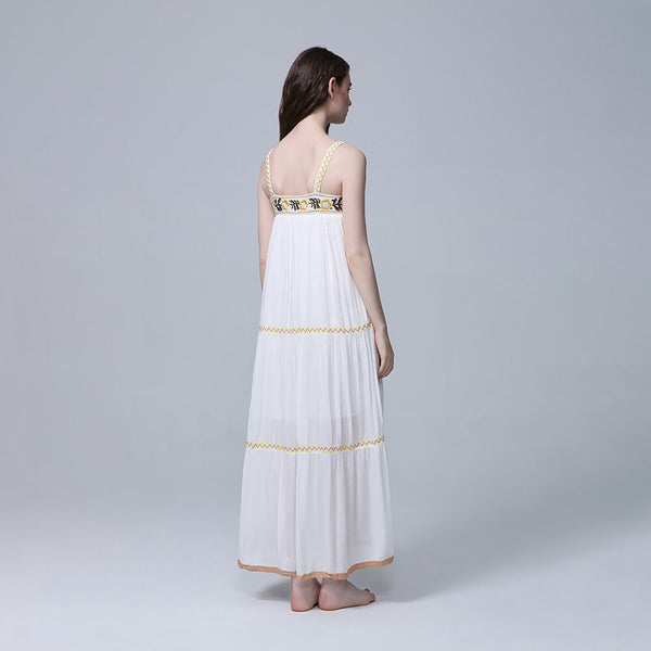 Casual Strap Embroidery Flower Long Dress