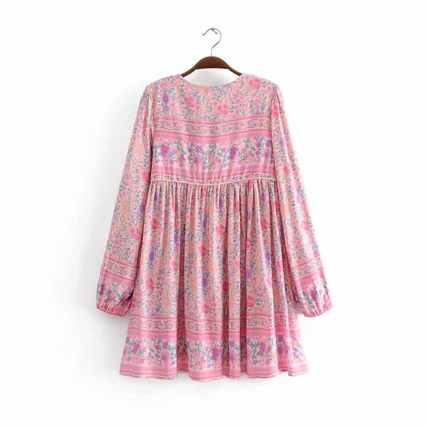 Pink Floral Long Sleeve Boho Mini Dress - Shes Lady