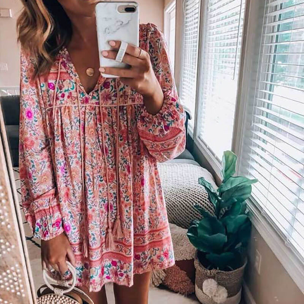 Pink Floral Long Sleeve Boho Blouse - Shes Lady