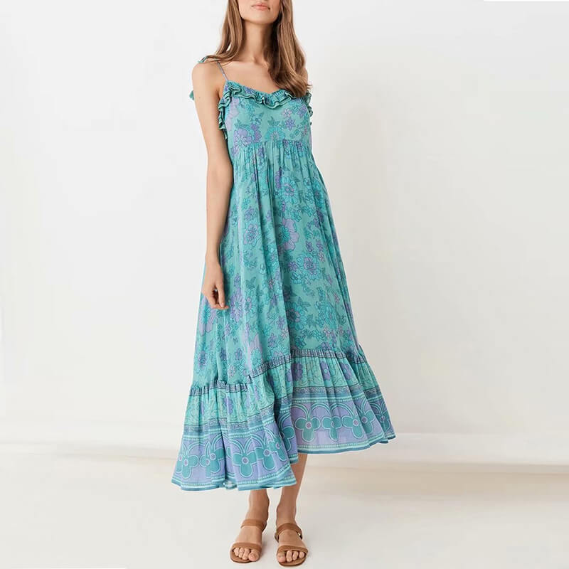 Ruffles Tied Up Strap Floral Long Dresses - Shes Lady