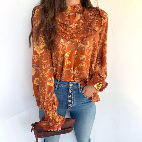 Frill Detail Elastic Cuff Long Sleeve Floral Blouse - Shes Lady