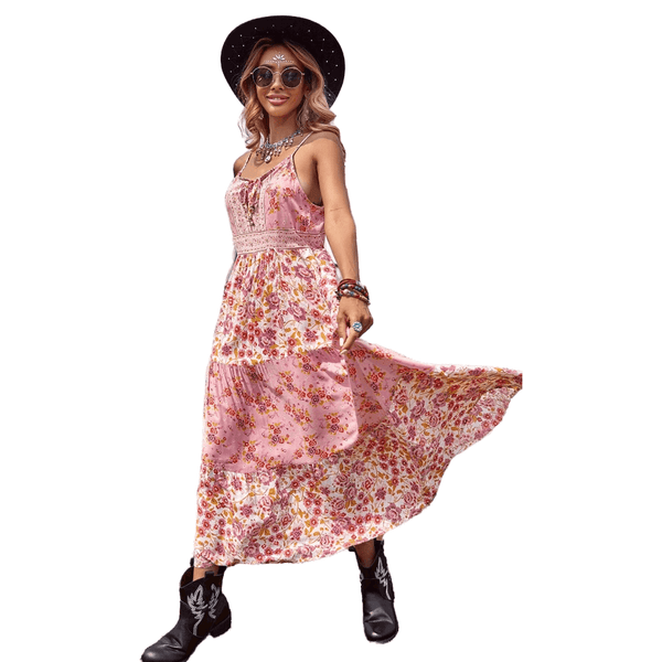 Gypsy Boho Ties Waist Floral Strap Dress - Pink