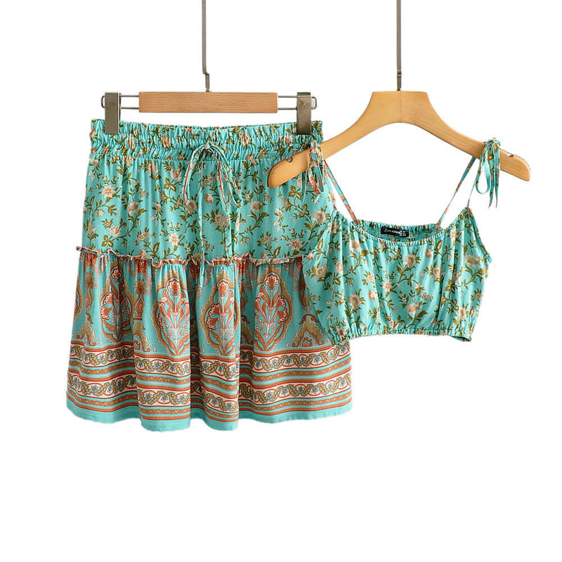 Boho Chic Two Piece Outfits Strap Tops and Drawstring Skirt - Shes Lady