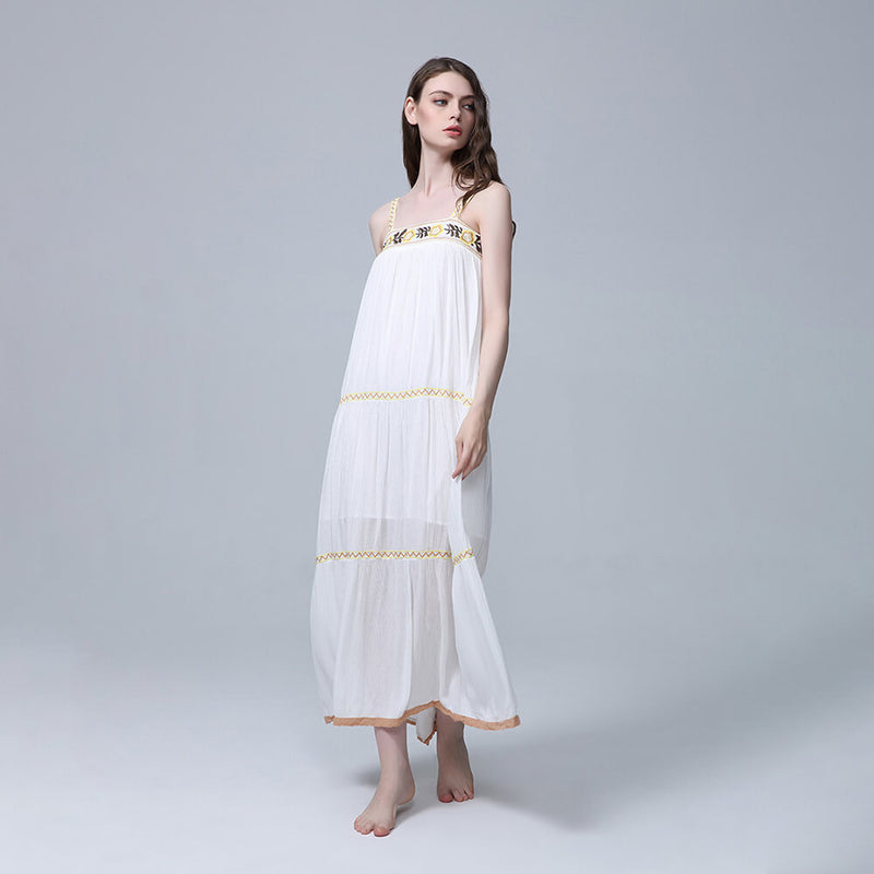 Casual Strap Embroidery Flower Long Dress - Shes Lady