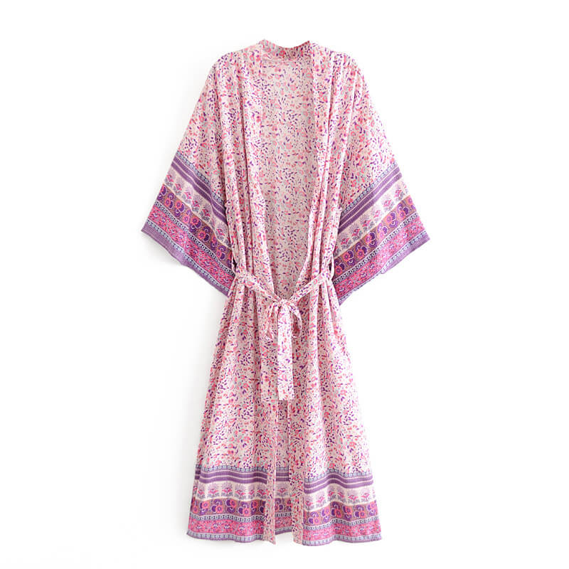 Vintage Chic Floral Print Sashes Bohemian Kimono Sleeve Robe Cover Up - Shes Lady