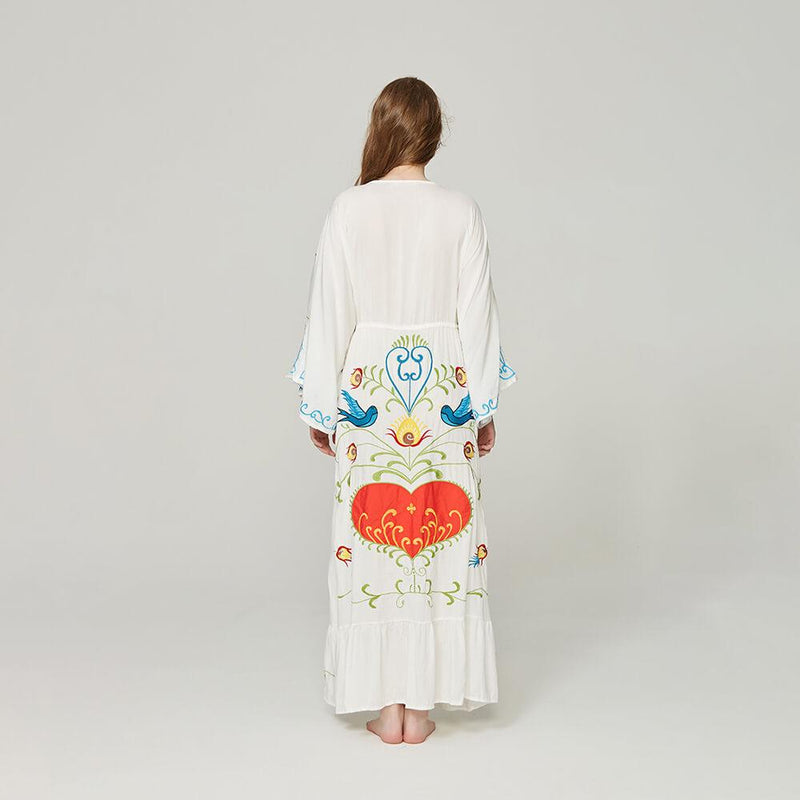 Ethnic Loose Flare Sleeve Embroidery Duster Maxi Dress - Shes Lady