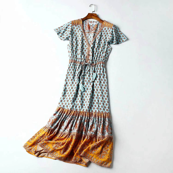 Retro Short Sleeve Tassel Drawstring Waist Floral Midi Dresses - Shes Lady