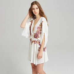 Loose Sexy Deep V Neck Embroidery Short Dress - Shes Lady