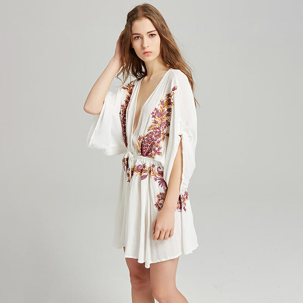 Loose Sexy Deep V Neck Embroidery Short Dress