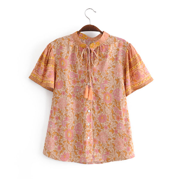 Button Tassel Tie-Up Front Floral Top