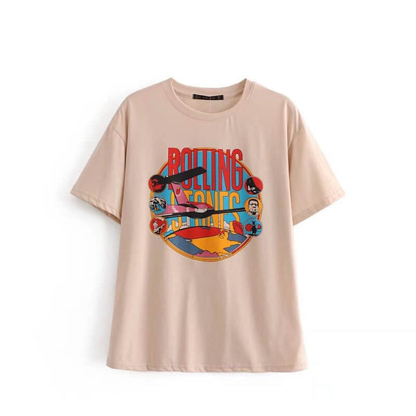 Retro Print Short Sleeve T Shirt