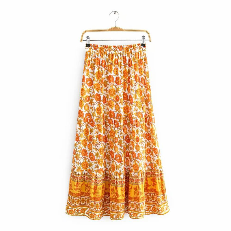 Hippie Summer Floral Printed High Waist Midi Skirt - Shes Lady